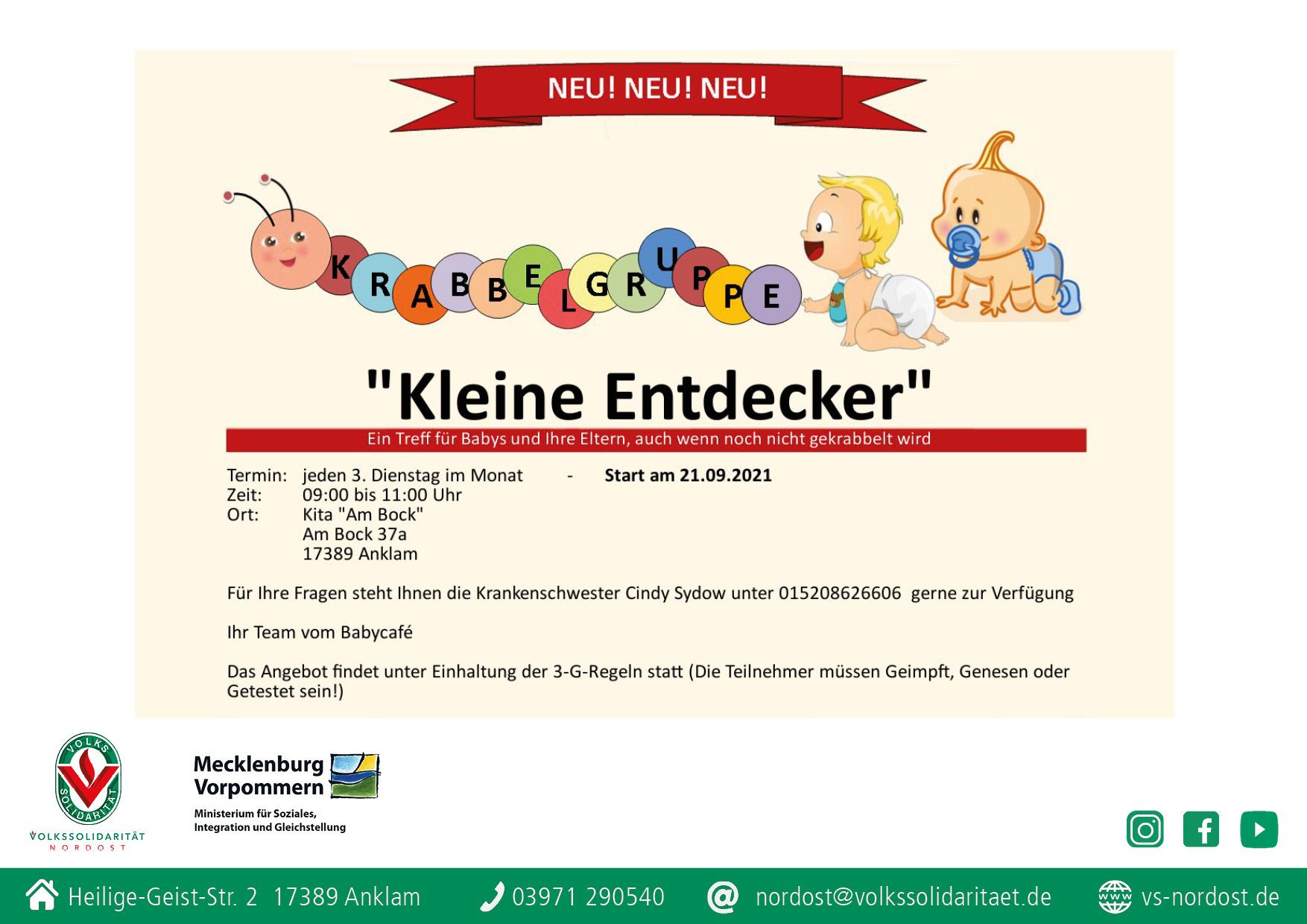 "Read more about the article ""Kleine Entdecker"" – Krabbelgruppe in der Anklamer Kita ""Am Bock"" startet"